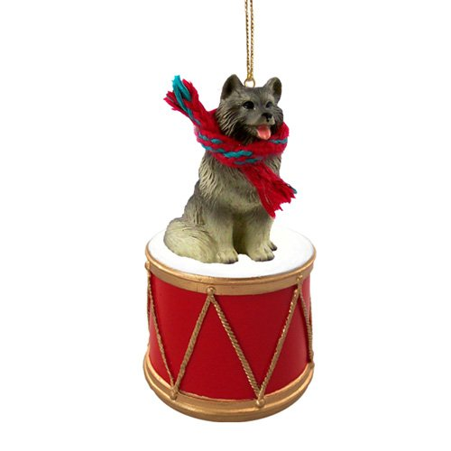 Little Drummer Keeshond Christmas Ornament - Hand Painted - Delightful by Animal Den