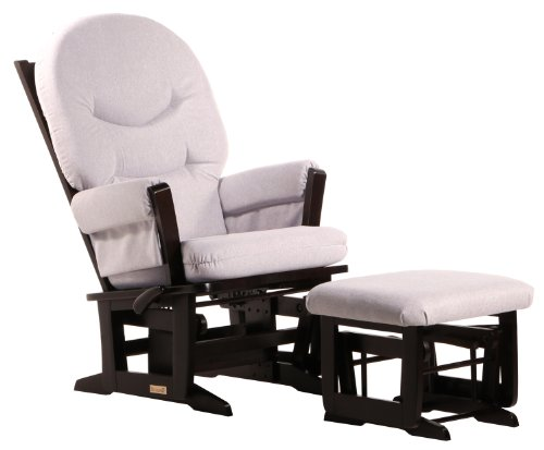 Dutailier Modern Glider-Multi-Position Recline and Nursing Ottoman Combo, Espresso Light Grey