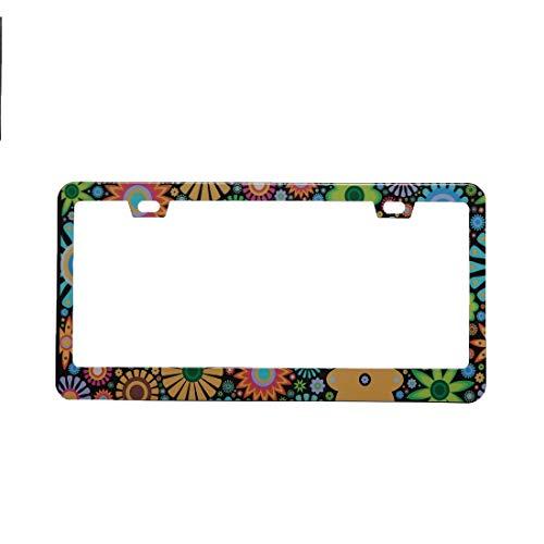 - BINGOLIN Retro Flower Printed Chrome Stainless Steel Metal License Plate Frame, Floral Pattern Car Tag Frame