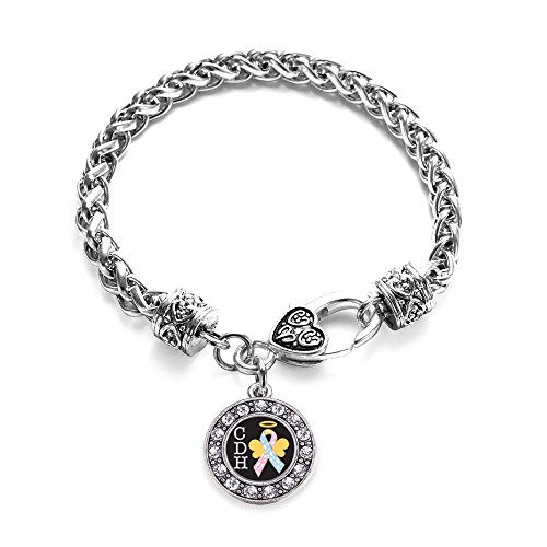 Inspired Silver CDH Awareness Circle Charm Bracelet Silver Plated with Crystal ()