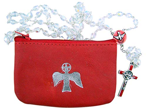 Red Confirmation Rosary Gift Set with Leather Rosary Case for Girls