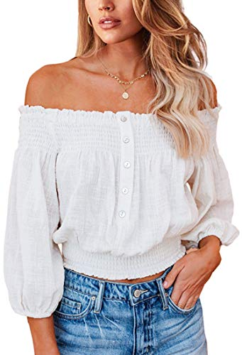 Angashion Women's Tops Sexy Off Shoulder Floral Flare Long Sleeves Printed Cropped Shirt Blouses 2135 White XL