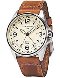 T25 Cream, Swiss Made GMT Pilot Watch | 44mm Vintage Leather Strap