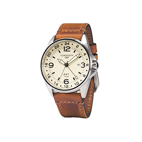Torgoen T25 Cream, Swiss Made GMT Pilot Watch | 44mm Vintage Leather Strap