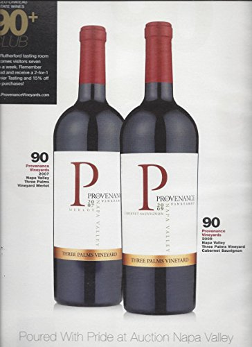 MAGAZINE ADVERTISEMENT For Provenance Vineyard Wine 90+ Club Rating Scene