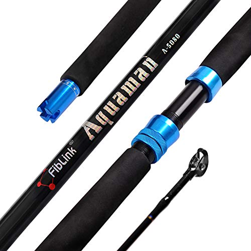 Fiblink 1-Piece Saltwater Offshore Trolling Rod Conventional Boat Rod Carbon Fishing Pole 6-Feet, 30-50lb 50-80lb 80-120lb