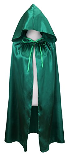 VGLOOK Kids Halloween Costumes Christmas Cloak With Hood ages 8 to14(green) (Halloween Costumes 10 Year Old Boy)