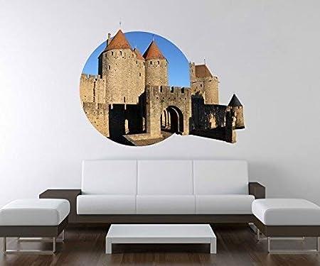 3D Pegatina Pared Puerta Edad Media Castillo Candado Torre Carcassonne Francia Pared Adhesivo Decoración Mural Adhesivo de Pared A3D247-120cm: Amazon.es: Hogar