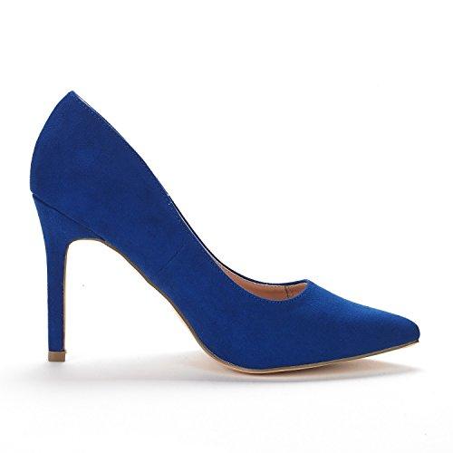 DREAM PAIRS Womens Christian-New High Heel Pump Shoes Royal Blue CMAwb