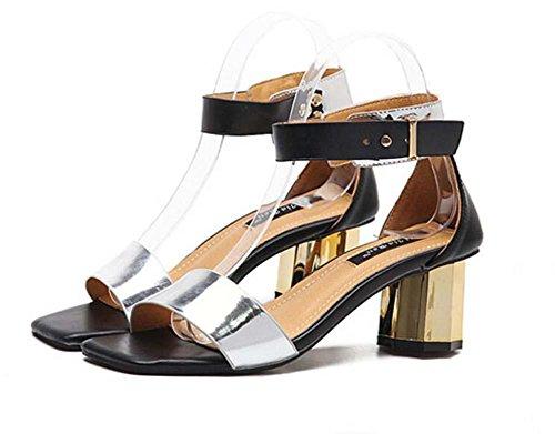 tobillo casuales de pie Zapatillas cinturón del Tamaño Hebilla Silver Sencillo Tribunales Moda Tacones gruesos Dedo UE 39 Zapatos cuadrado de la Punta Sandalias del Correa 35 dama Zapatos abierta rrI14