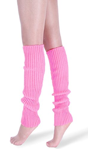 *daisysboutique* Retro Unisex Adult Junior Ribbed Knitted Leg Warmers (One Size, Pink)