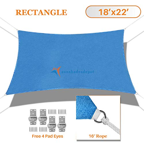 TANG Sunshades Depot 18 x22 Sun Shade Sail Rectangle Permeable Canopy Blue Custom Commercial Standard 180 GSM HDPE