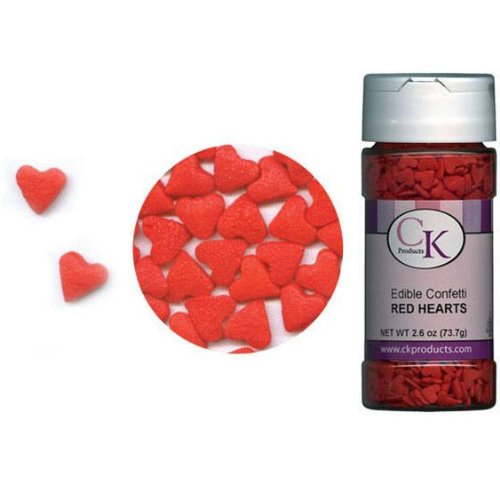 Strawberry Sprinkles - CK Products Edible Confetti Red Hearts 2.6 Ounce Sprinkles