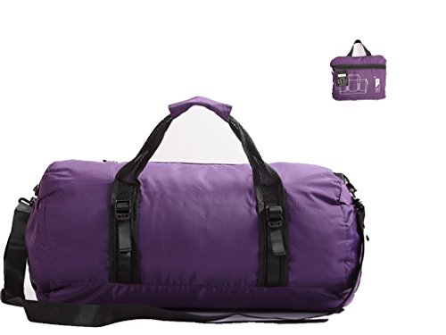 Toodou Foldable Lightweight And Waterproof Gym bag , Duffel Bag, Sports Duffel Bag For Men And Women With Shoulder Strap , 20 Inch (Purple) by Toodou