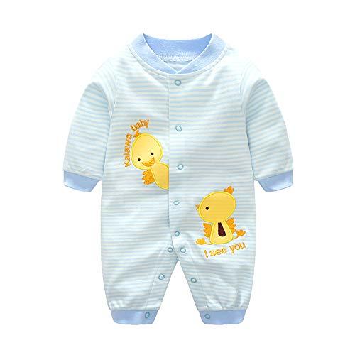 Fairy Baby Newborn Baby Boy Girl Outfit Cartoon Striped Romper Cotton Sleeper Pajamas Size 0-3M (Blue Duckling)