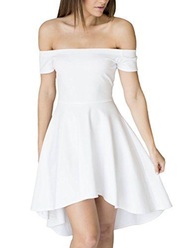 Sidefeel Women Off Shoulder Short Sleeve High Low Skater Dress Small White -