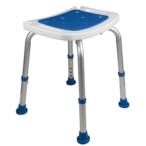 Pcp Bath Bench Shower Chair Safety Seat, Adjustable Height, Stability Grip Traction, Medical Grade Senior Living Spa Aid, Mobility Recovery Support, White/Blue