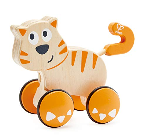 41u55b4UVQL - HapeDante Push and Go| Wooden Push, Release & Go Cat Toddler Toy with Wheels