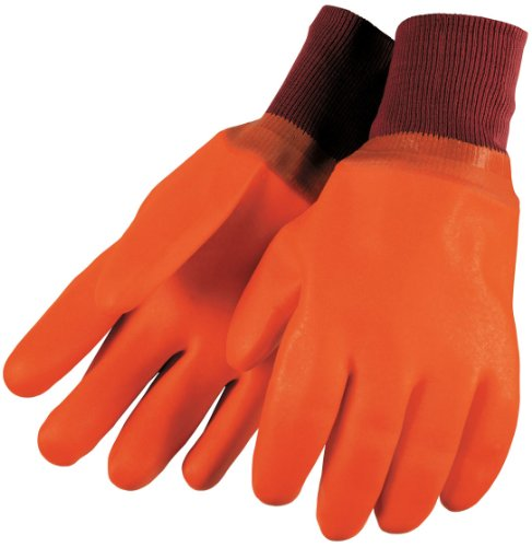 (MCR Safety 6700F Foam Lined PVC Double Dipped Gloves with Knit Wrist, Orange/Red, Large, 1-Pair)