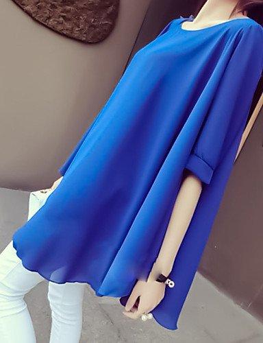 PU&PU Robe Aux femmes Ample Sexy,Couleur Pleine Col Arrondi Mini Polyester , fuchsia-xl , fuchsia-xl