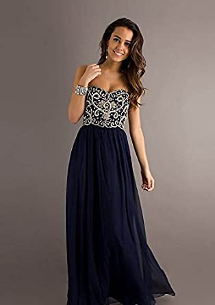 Amazon.com: Yup Dress A-line Strapless Sweetheart Zipper back Floor-length Prom Dresses / Evening Dresses Color Dark Navy Size 26W: Clothing