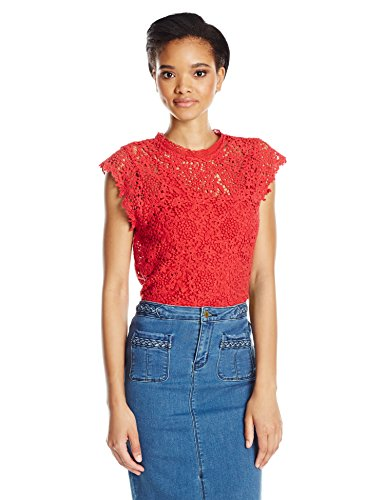 Spencer Lace (VELVET BY GRAHAM & SPENCER Women's Lace Capsleeve Blouse, Red, S)
