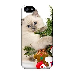 New Snap-on Wade-cases Skin Case Cover Compatible With Iphone 5/5s- Christmas Cat Cute