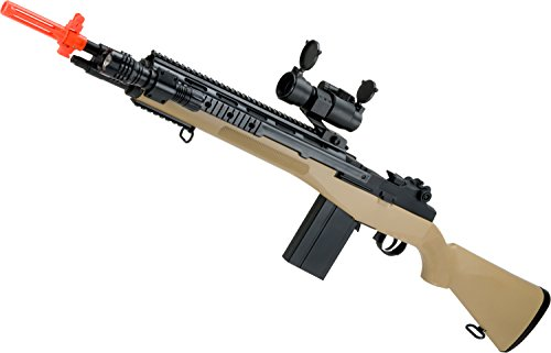 Evike - AGM M14 SOCOM Airsoft Spring Powered Rifle Package (Color: Tan) (Socom Rifle M14 Spring)