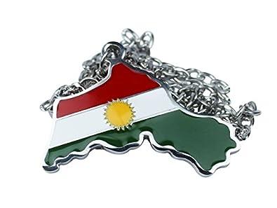 Kurdistan Karte 2019.Zozan Originals Kurdistan Kette Premium Edelstall Mit Kurdistan Karte Und Flagge Silber Farbe