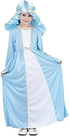 Girls Virgin Mary Christmas School Nativity Play Fancy Dress Costume Outfit
