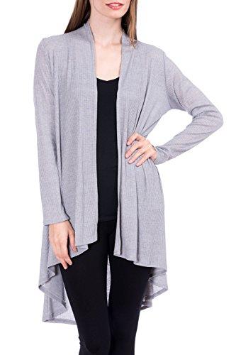 Modern Kiwi Solid Essential Long Cascading Cardigan Heather Grey Ribbed Medium