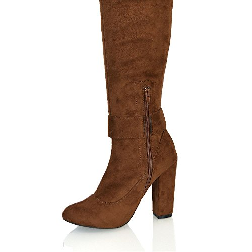 ESSEX GLAM Womens Faux Suede Boots Over The Knee Thigh High Buckle Detail Block Heel Zipper Stretch Boots Mocca Faux Suede QRUO5B