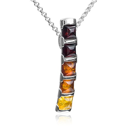 Ian and Valeri Co. Multicolor Amber Sterling Silver Long Rectangular Pendant Necklace Chain 18