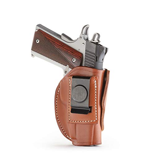 1791 GunLeather 4-WAY 1911 Holster - OWB and IWB CCW Holster - Right Handed Leather Gun Holster - Fits all 3 and 4 inch 1911 models SIG, COLT, Kimber, Ruger, Browning, Taurus (SIZE 1) (Iwb Holster For Kimber Pro Carry Ii)