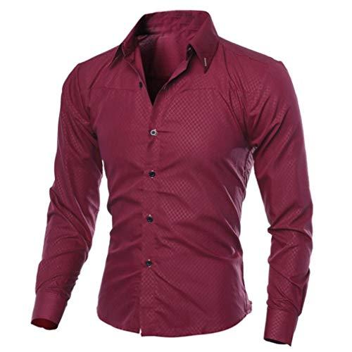 Fashion Gentleman a Top Casual Slim con Autunno Adeshop Camicia Large 3xl da risvolto lunghe uomo S S Printed Camicetta Lattice Top maniche Wine Chic F6qOOp8wdx