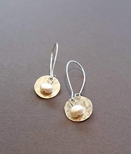 Flip White Earrings - Handmade Lightweight Small Womens Silvertone White Pearl Disc Drop Earrings Beads by Bettina