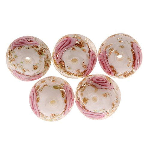 Jili Online 5 pcs Multicolor Lampwork Round Glass Beads 12X17mm - White, 12mm Gold Lampwork Beads