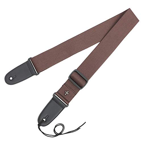 (Guitar Strap Cotton + PU Shoulder Strap with Soft Leather Ends and Includes Ties Vintage Metal Cross Pattern Adjustable Design with Pick Holder for Acoustic, Electric and Bass Guitars(Coffee))