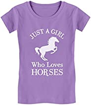 A Girl Who Loves Horses Shirt Horse Lover Gift Girls' Fitted Kids T-S