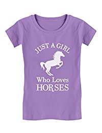 Tstars - A Girl Who Love Horses Horse Lover Gift Girls' Fitted Kids T-Shirt