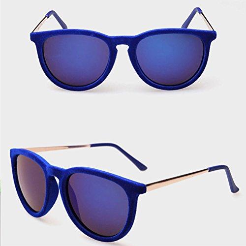 for Sunglasses Zhhlaixing Personality Colorful Mens Plush Bright Blue Sunglasses Unisex Film Mode Dark Fashion nxnvqwCA