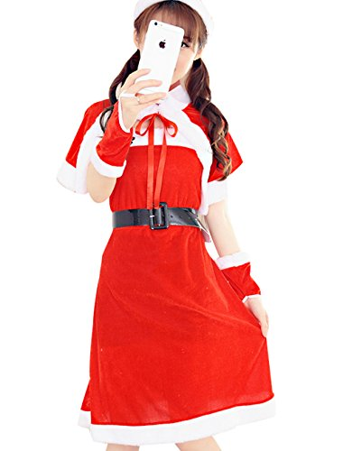 [YFFaye Women's Christmas Santa Claus Costume Party Dress] (Pregnant Mummy Costumes)