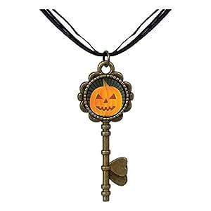 Chicforest Bronze Retro Style carved Halloween pumpkin Jack O lantern Key to Her Heart Pendant