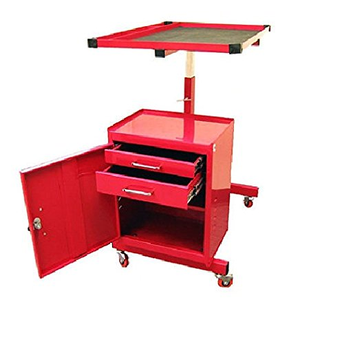 Excel 2-Drawer Rolling Metal Tool Cart - Genius Designed Garage Storage Solution to hold Equipment on Top and Tools Below - Steel Red