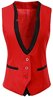 Vocni Women V-Neck Slim Fit Business Office Bottoned Dressy Suit Vest Waistcoat