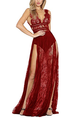 (Meenew Women's Sleeveless See-Through Lace Lingerie Gown Maxi Long Dress Ruby XL)