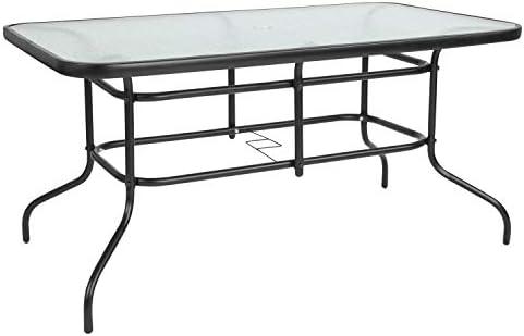 Flash Furniture 31.5″ x 55″ Rectangular Tempered Glass Metal Table