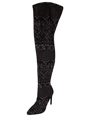 Steve Madden Women's Tiffy Fashion Boot, Black lace, 7.5 M US