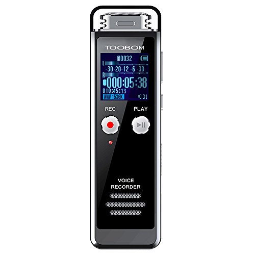 TOOBOM 8GB Digital Voice Recorder for Lectures - R75 Voice Activated Recorder with Playback 1536KPBS Audio Recording Device Password Protection Mini Tape Recorder, Auto Record, SD Card Slot by TOOBOM