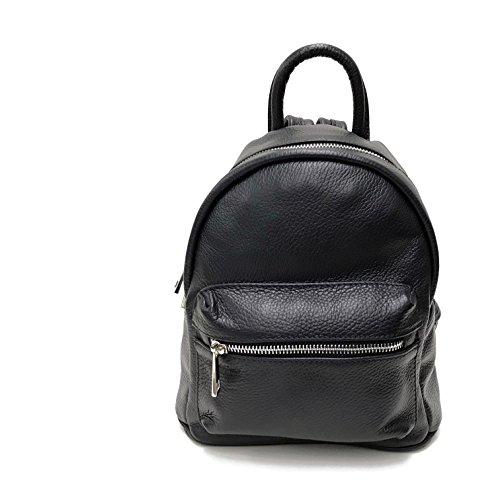6ffb923bb3285 Leder Damen Rucksack schwarz Schultertasche Reisetasche Echtleder modern  mini - Made in Italy